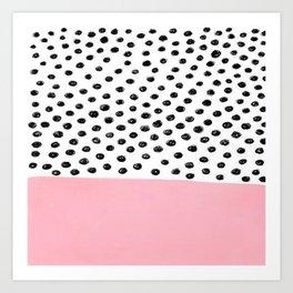Pink Black Dalmation Polka Dots Art Print