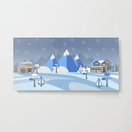 Winter in Mountains Metal Print