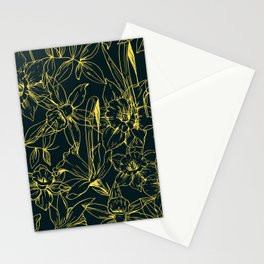 Hand drawn daffodils flowers seamless pattern, Template of greeting tropical leaves and flowers Stationery Cards
