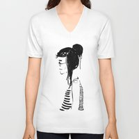 hippy V-neck T-shirts featuring Hippy girl by Oomy12