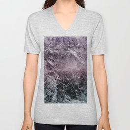 Enigmatic Dark Night Marble #1 #decor #art #society6 Unisex V-Neck
