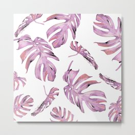 Monstera Pattern Pink #society6 #buyart Metal Print