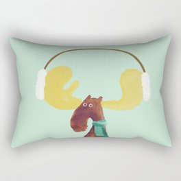 This moose is ready for winter Rectangular Pillow