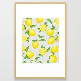 You're the Zest - Lemons on White Framed Art Print