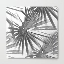Grey on White Tropical Vibes  Beach Palmtree Vector Metal Print