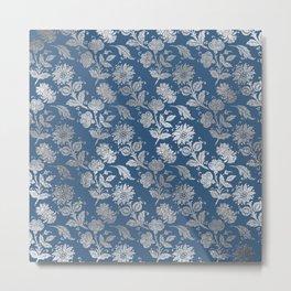 Beautiful Blue Silver Flowers Metal Print