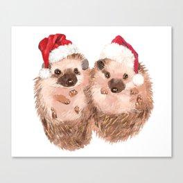 Christmas Twin Hedgehog Canvas Print