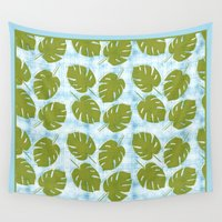 tiki Wall Tapestries featuring MCM Tiki Palm by Lisa Jayne Murray - Illustration