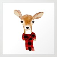 craftberrybush Art Prints featuring Fawn with buffalo check scarf by craftberrybush