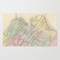 oakland Area & Throw Rugs featuring Vintage Map of Oakland California (1878) by BravuraMedia