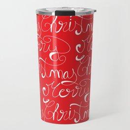 Merry Christmas Type Pattern Travel Mug