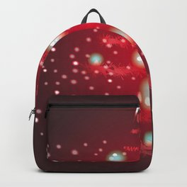 Christmas tree in red color. Backpack