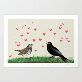 Blackbirds songs of spring Art Print