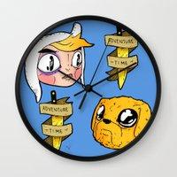 finn and jake Wall Clocks featuring Finn and Jake by Nate Galbraith