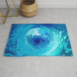 Abstract Blue and Turquoise Mandala 1296 Rug