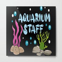Aquarium Staff Fish Holder Motif Metal Print