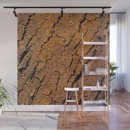 Orange tree bark with rustic wrinkles Wall Mural