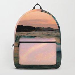 Beautiful Pink Blush, Sunset Sea Ocean Waves Backpack