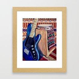 Blue Bass Guitar Framed Art Print