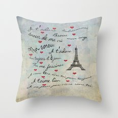 Paris Amour Valentines Design  Throw Pillow
