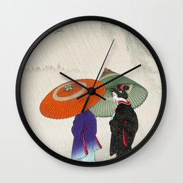 Women walking in the rain - Vintage Japanese Woodblock Print Wall Clock