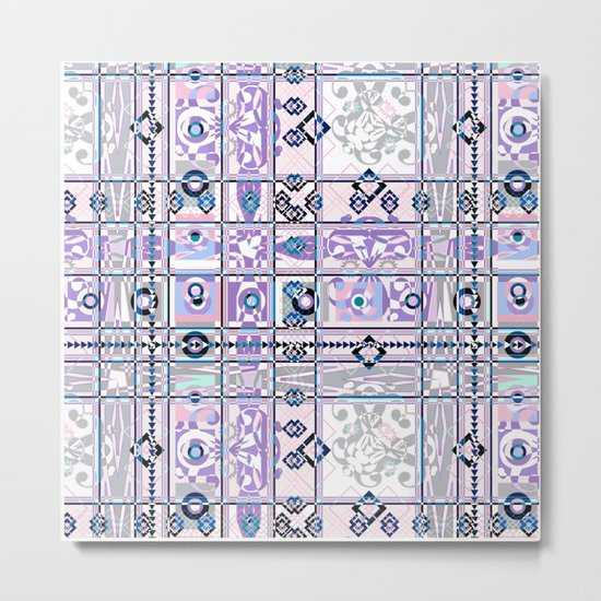 Abstract geometric pattern on white background. Metal Print