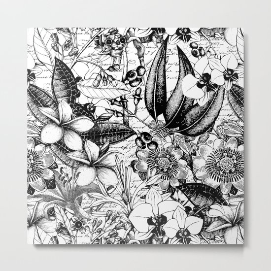 Black and white tropical flower Metal Print