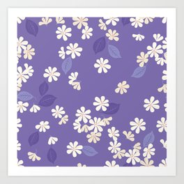 Purple Night. Cherry Blossom. Art Print