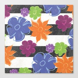 Vintage Style Summer Flowers on Black and White Stripe Canvas Print