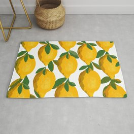 Yellow Mellow Citrons Green Leaves White Background #decor #society6 #buyart Rug