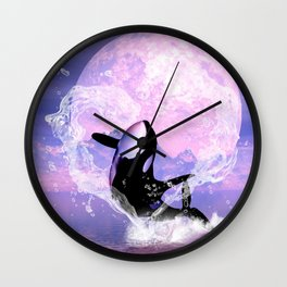 Orca jumping by a heart Wall Clock