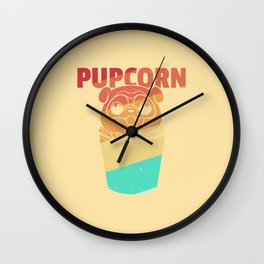 Popcorn Dog Pug Puppy Cute Vintage Retro Wall Clock