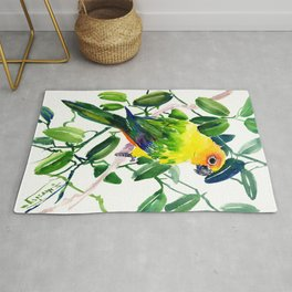 Sun Conure Parakeet, jungle tropical colors, parrot yellow deep green bright colored home decor Rug