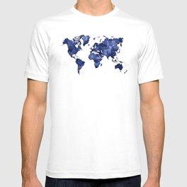 Dark navy blue watercolor world map T-shirt