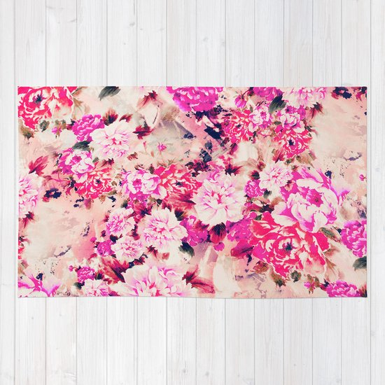 elegant pink chic floral pattern girly peonies rug by girlyroad society6