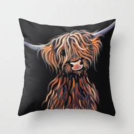 Scottish Highland Cow ' WEE MAC ' by Shirley MacArthur Throw Pillow