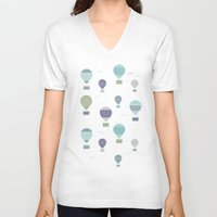 hot air balloons V-neck T-shirts featuring Hot Air by Styloclay