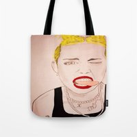 miley cyrus Tote Bags featuring Miley Cyrus  by kelsey kolokowski