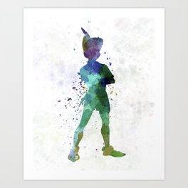 Peter Pan in watercolor Art Print