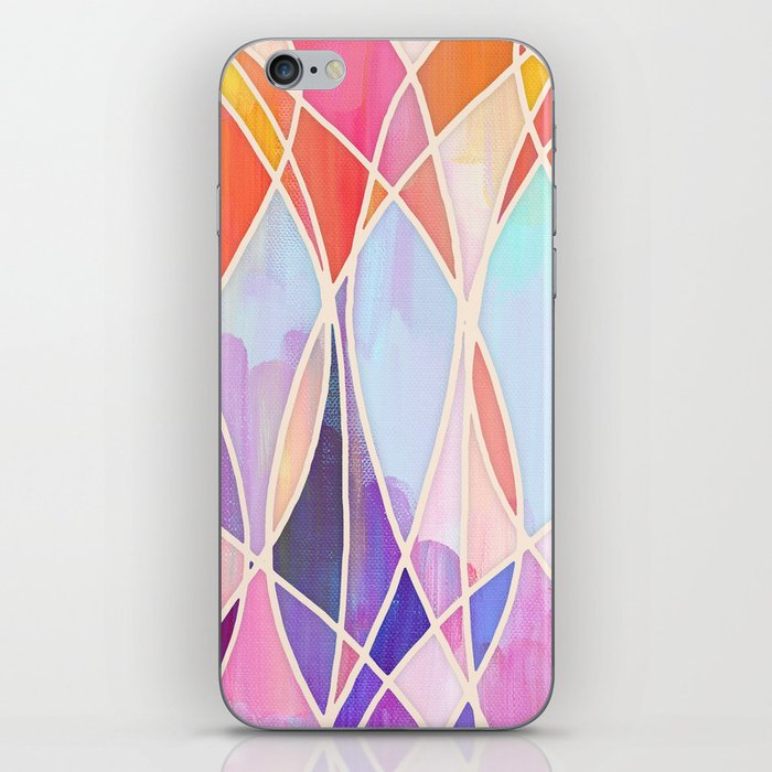 Purple & Peach Love - abstract painting in rainbow pastels iPhone Skin