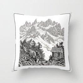 BEYOND MOUNT SHUKSAN BLACK AND WHITE VINTAGE PEN DRAWING Throw Pillow