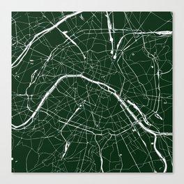 Paris France Minimal Street Map - Forest Green Canvas Print