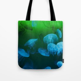 Moon Jellyfish - Blue and Green Tote Bag