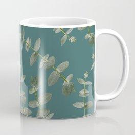 Eucalyptus Patterns with Aqua Background Realistic Botanic Patterns Organic Design with Real Plants Coffee Mug