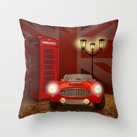 british Throw Pillows featuring British RED by Monika Juengling