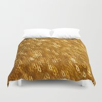 gold glitter Duvet Covers featuring Gold Glitter 1324 by Cecilie Karoline