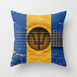 Old Vintage Acoustic Guitar with Barbados Flag Throw Pillow