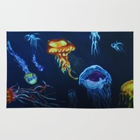 jelly fish Area & Throw Rugs featuring Jelly-Jelly-Fish by Fknjedi1