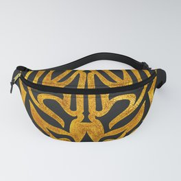 Tribal Tattoo Style Daemon Design - Gold & Black Fanny Pack
