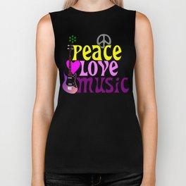 Peace, love and music, hippie style Biker Tank